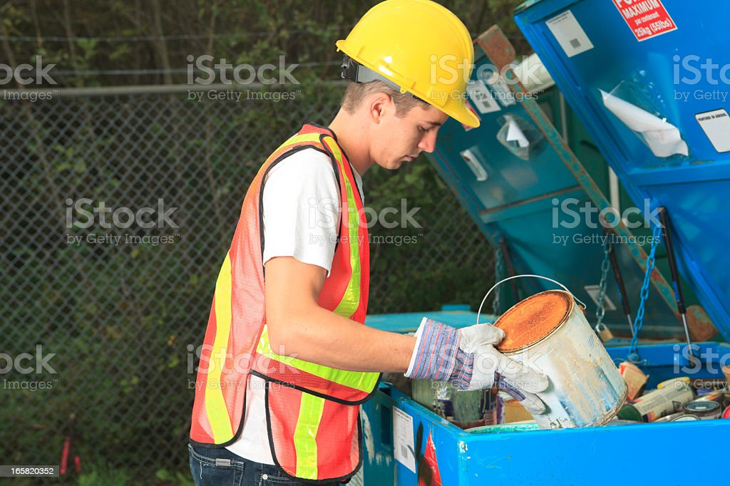 Recycling Worker - Paint Recycle royalty-free stock photo