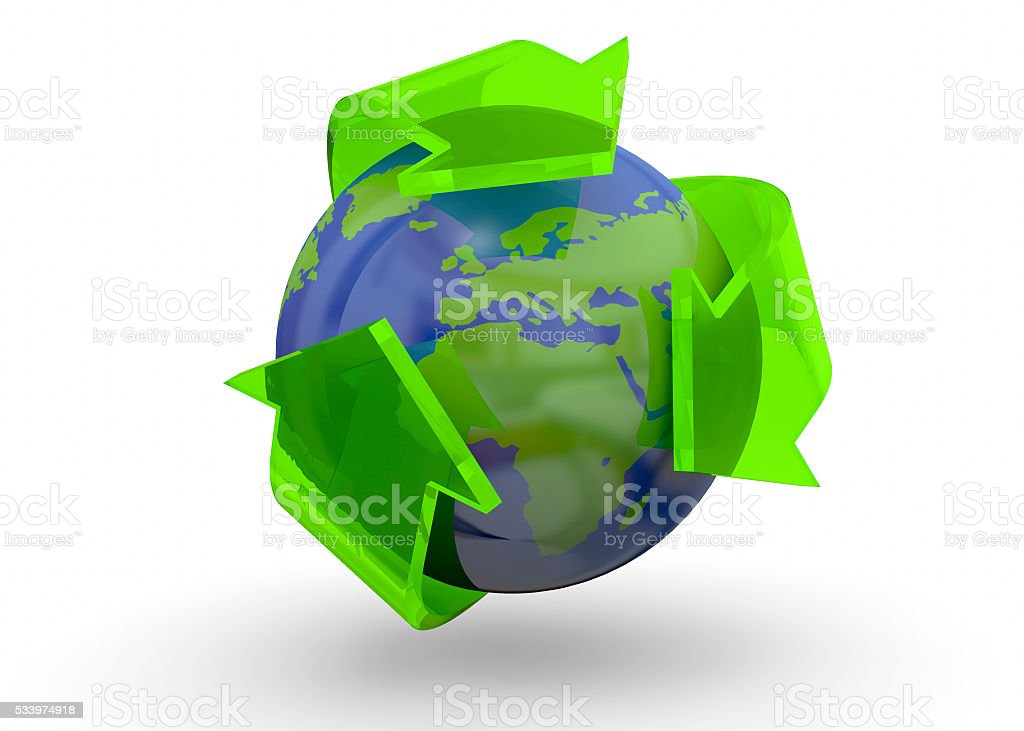 Recycling World Concept - 3D stock photo