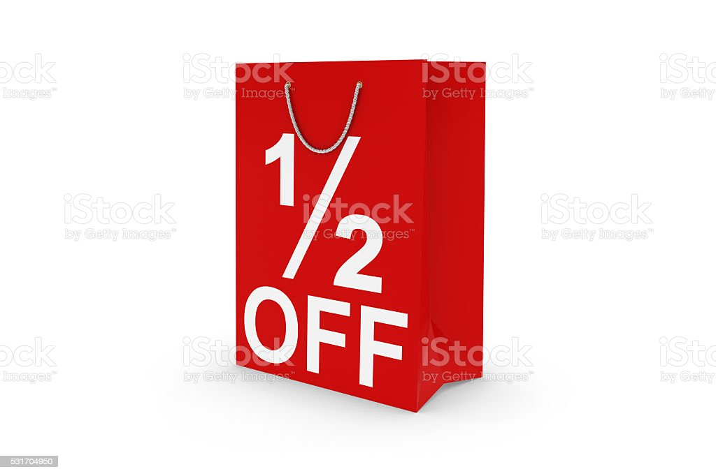Red 1/2 OFF Paper Shopping Bag Isolated on White stock photo