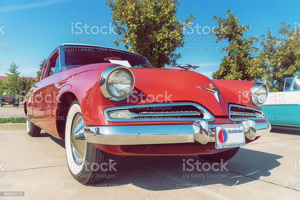 Red 1953 Studebaker Commander Coupe stock photo