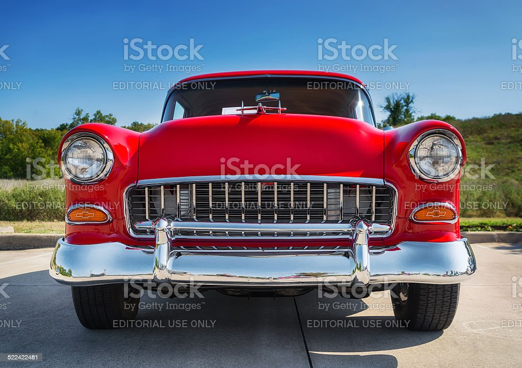 Red 1955 Chevrolet 210 classic car stock photo
