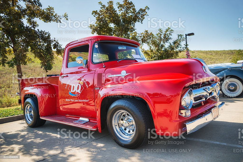 Red 1956 Ford F-100 Pickup truck stock photo