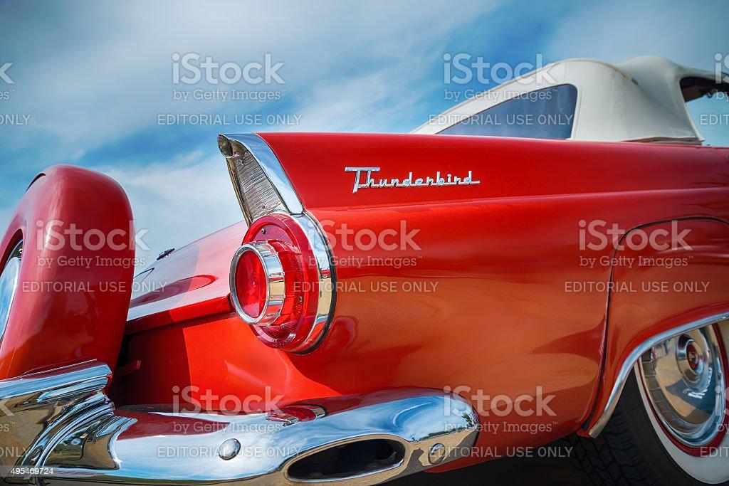 Red 1956 Ford Thunderbird stock photo