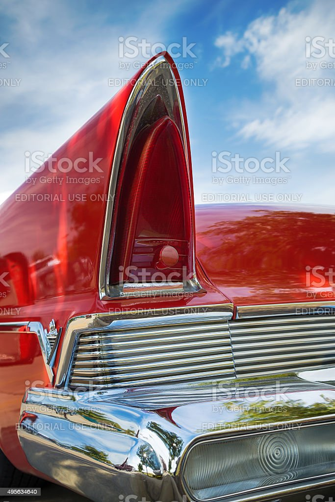 Red 1957 Lincoln Premiere stock photo