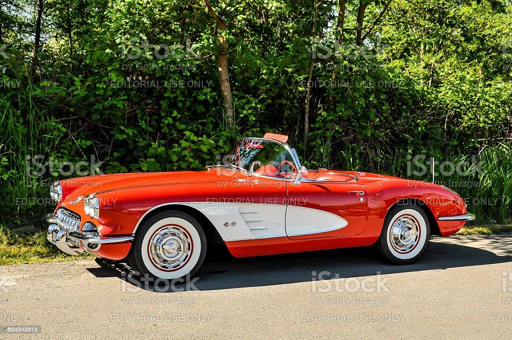 Red 1958 Chevrolet Corvette stock photo