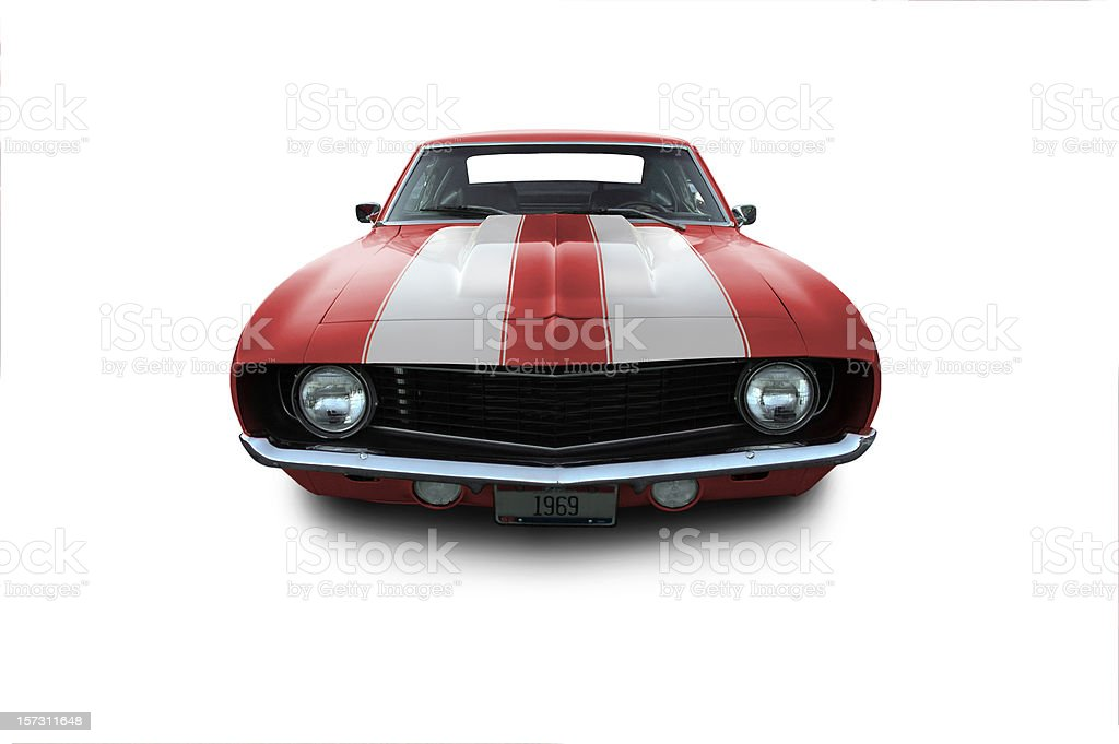 Red 1969 Camaro Muscle Car stock photo