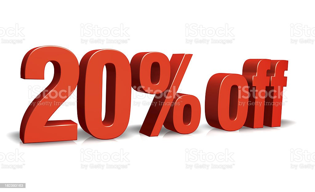 Red 20% off 3D Sign stock photo