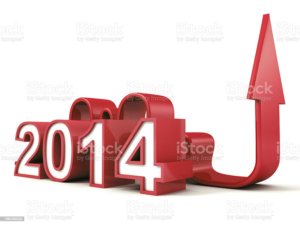red 2014 new year numbers with growing concept arrow royalty-free stock photo