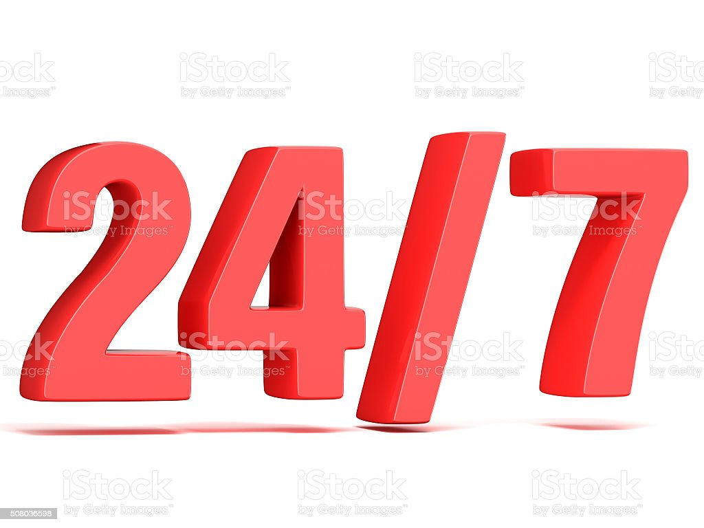 Red 24 hours 7 days a week sign. 3D stock photo