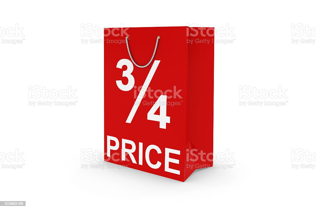 Red 3/4 PRICE Paper Shopping Bag Isolated on White stock photo