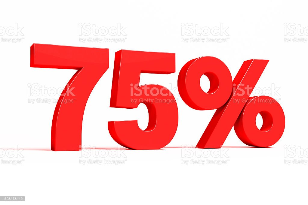 Red 3d 75% text on white background. stock photo