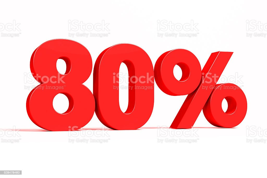 Red 3d 80% text on white background. stock photo
