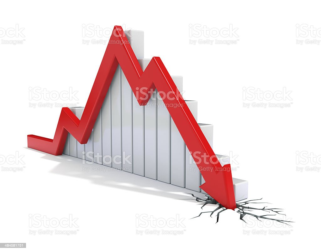 Red 3d arrow collapse stock photo