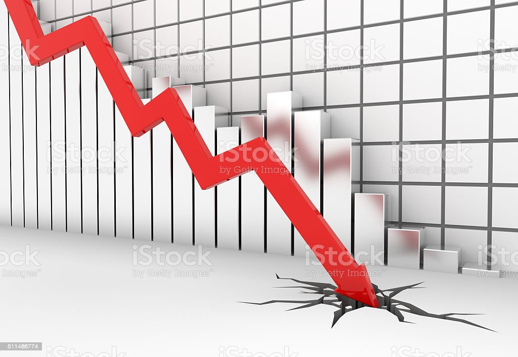 Red 3d arrow graph moves down stock photo