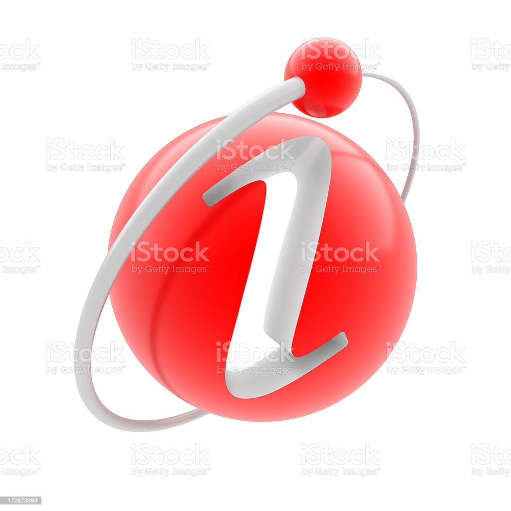 Red 3D atom sphere with the letter I for information royalty-free stock photo