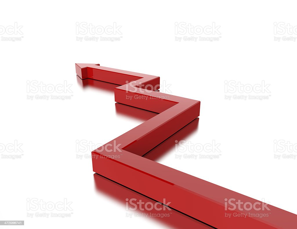 Red 3d graph arrow stock photo