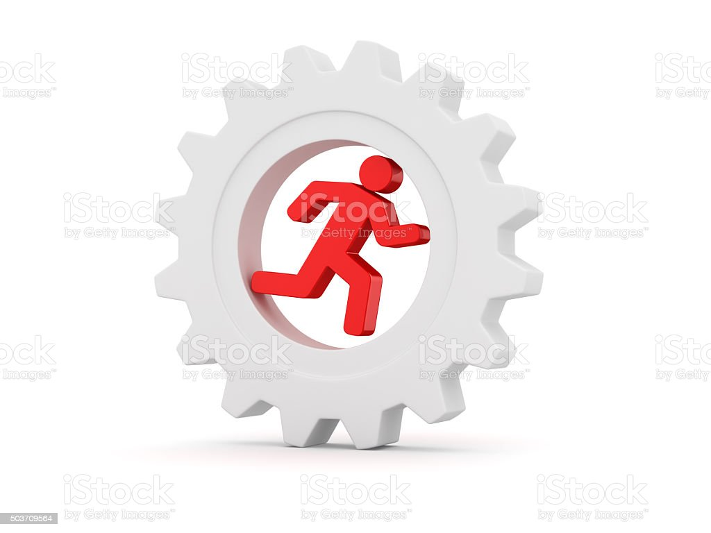 Red 3d man running in white gear stock photo