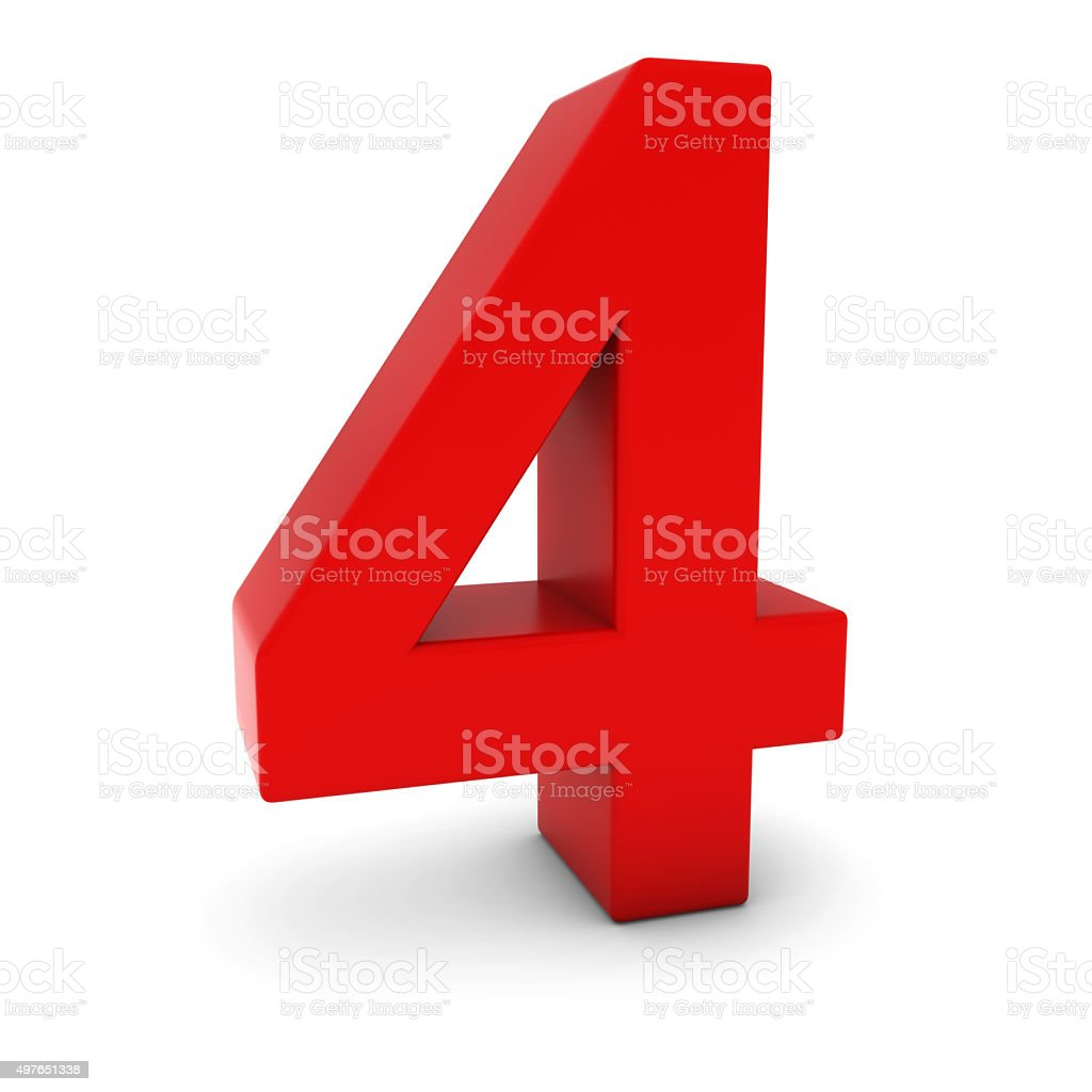 Red 3D Number Four Isolated on white with shadows stock photo