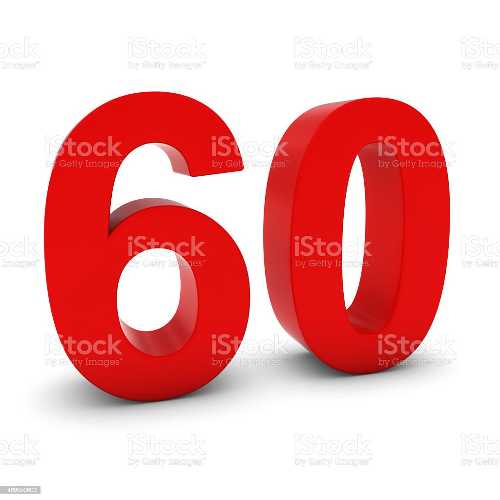 Red 3D Number Sixty Isolated on white with shadows stock photo