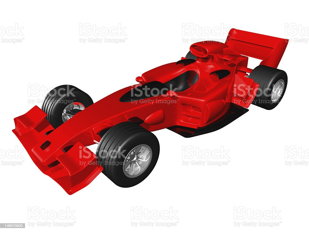 Red 3D race car side view on white background stock photo