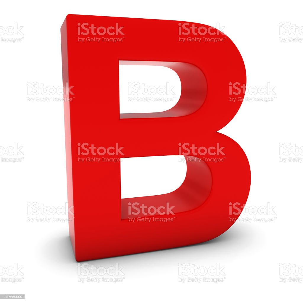 Red 3D Uppercase Letter B Isolated on white with shadows stock photo