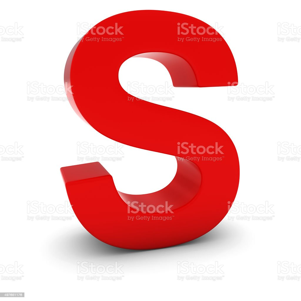 Red 3D Uppercase Letter S Isolated on white with shadows stock photo