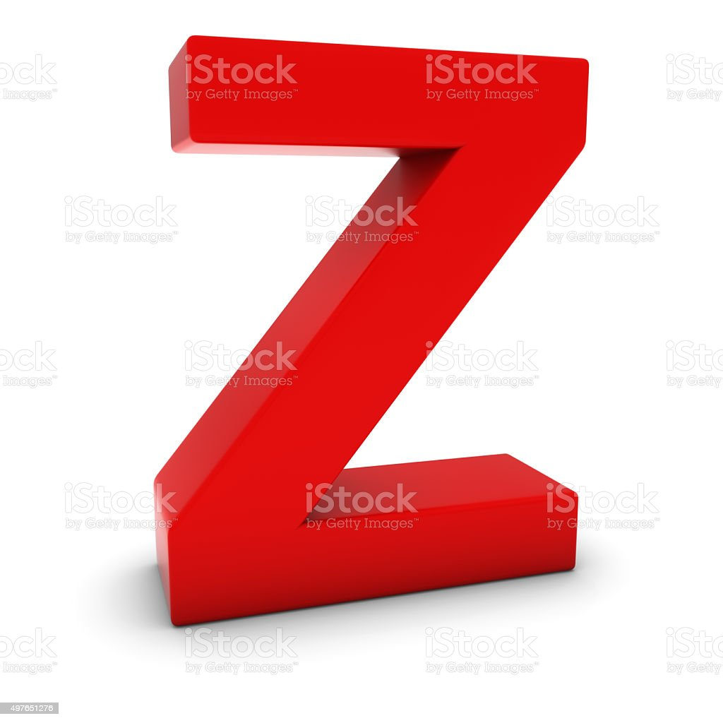 Red 3D Uppercase Letter Z Isolated on white with shadows stock photo