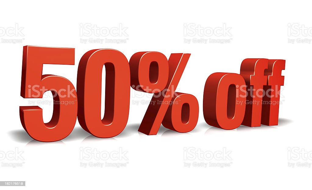 Red 50% off 3D Sign royalty-free stock photo