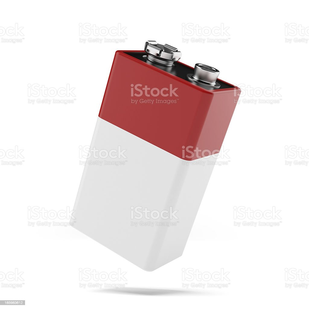 red 9v battery stock photo