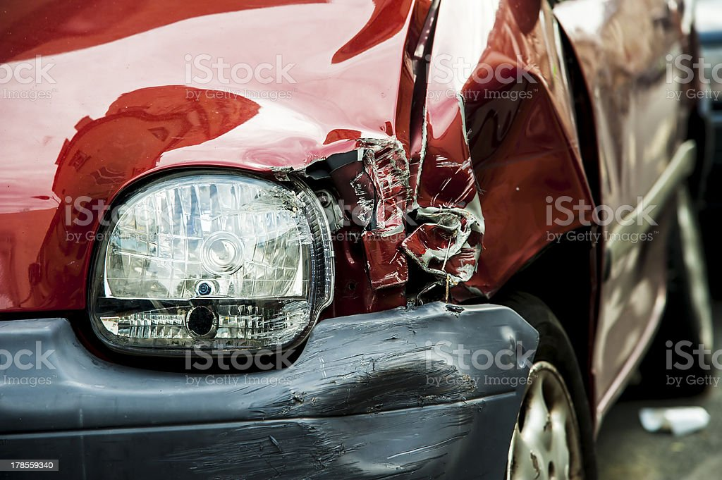 Red accident car royalty-free stock photo