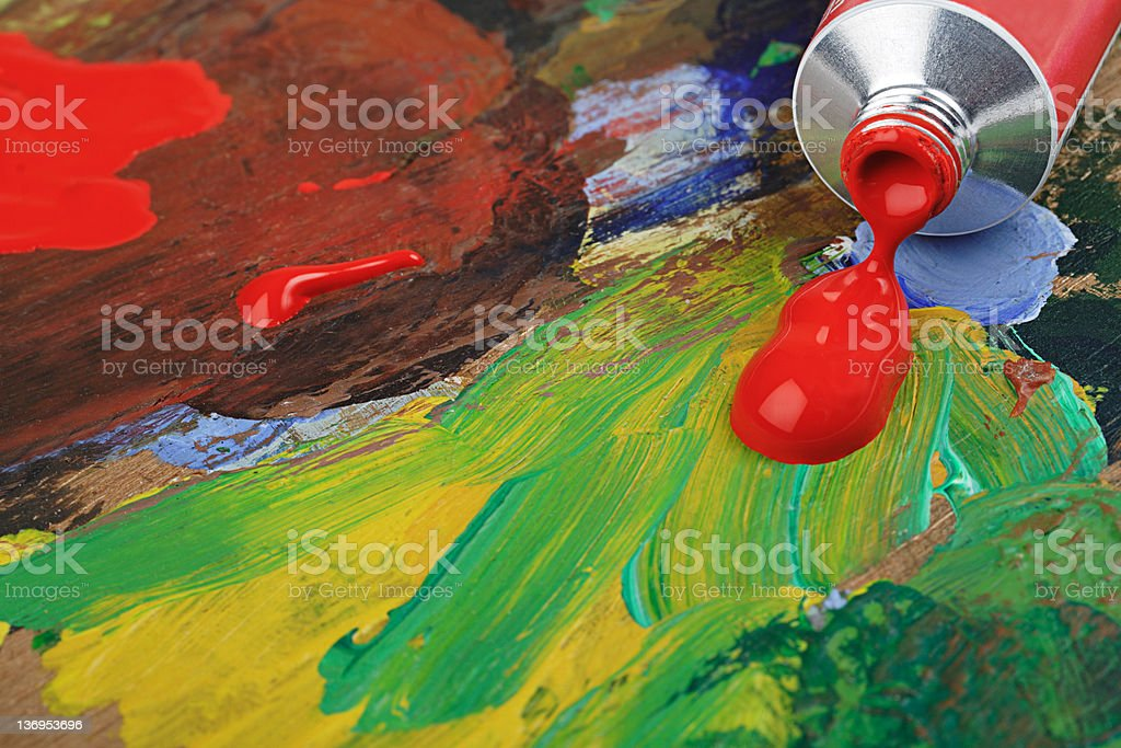 Red Acrylic Paint on Pallette royalty-free stock photo