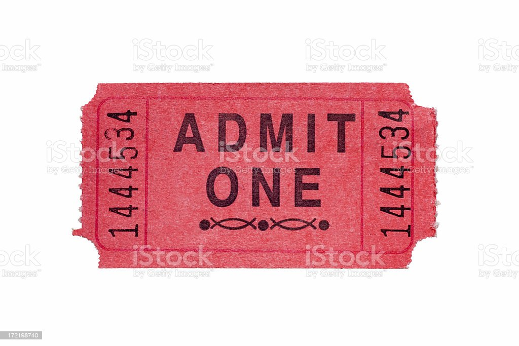 Red Admission Ticket stock photo