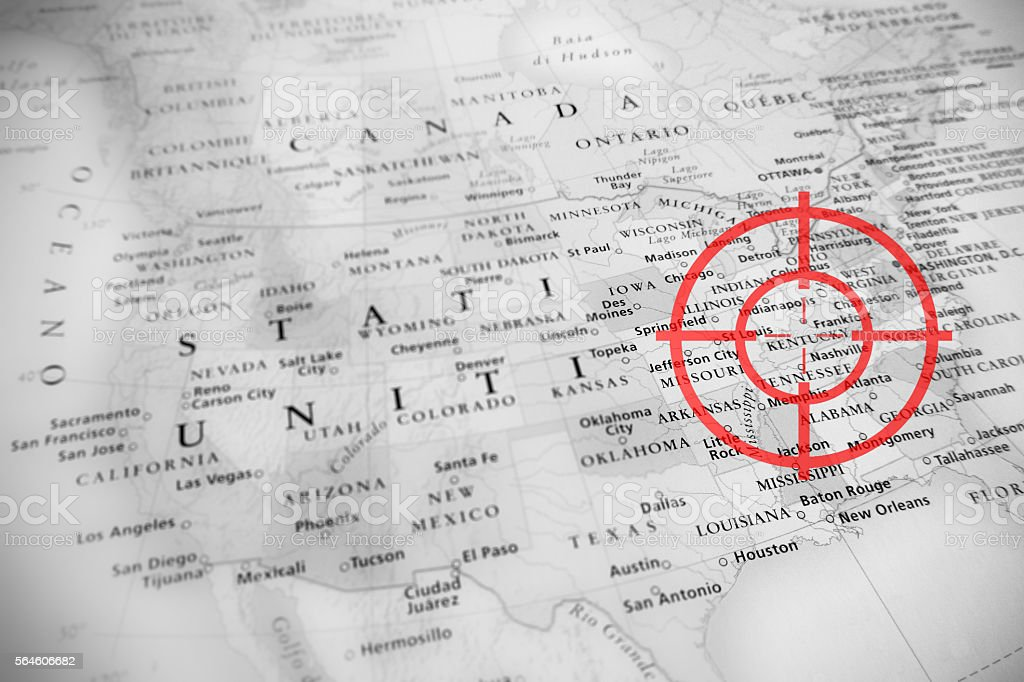 Red aerial target on tilted United States map: Kentucky stock photo