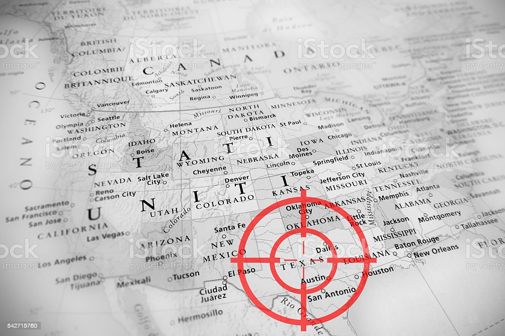 Red aerial target on tilted USA map ( Texas ) stock photo