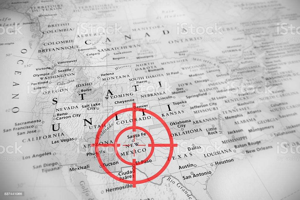 Red Aerial Target On United States Map New Mexico Stock Photo - Us map new mexico