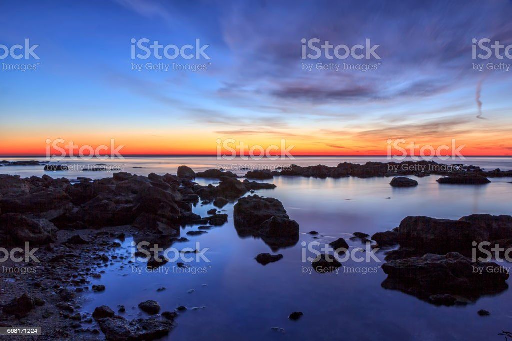 red afterglow stock photo
