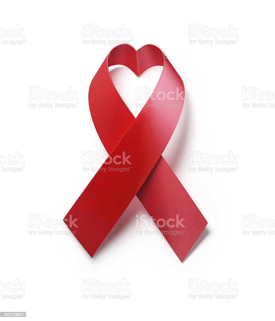 Red AIDS Awareness Ribbon Forming Heart  Shape On White Background stock photo