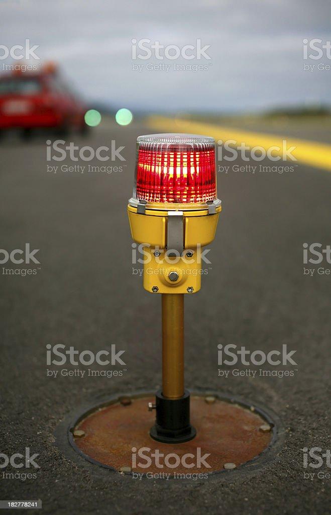 Red Airport Runway Threshold Light stock photo