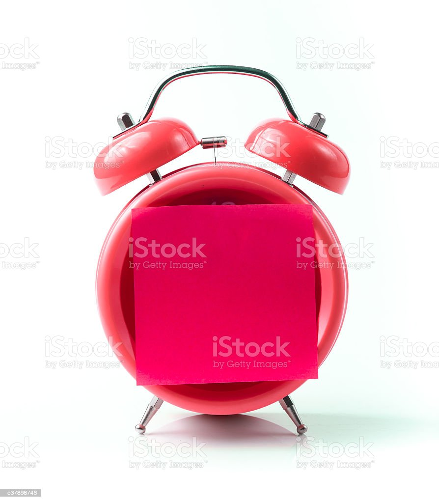 Red alarm clock and sticky paper stock photo