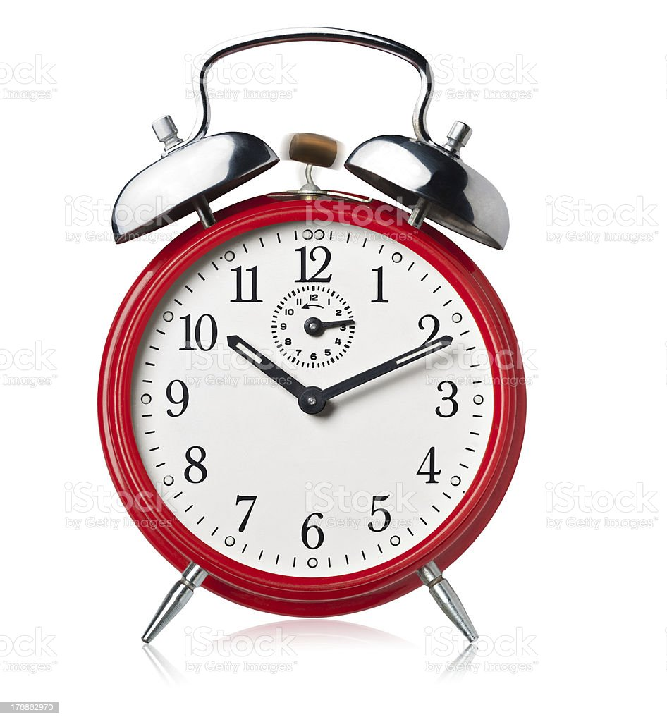 Red alarm clock, white background. stock photo
