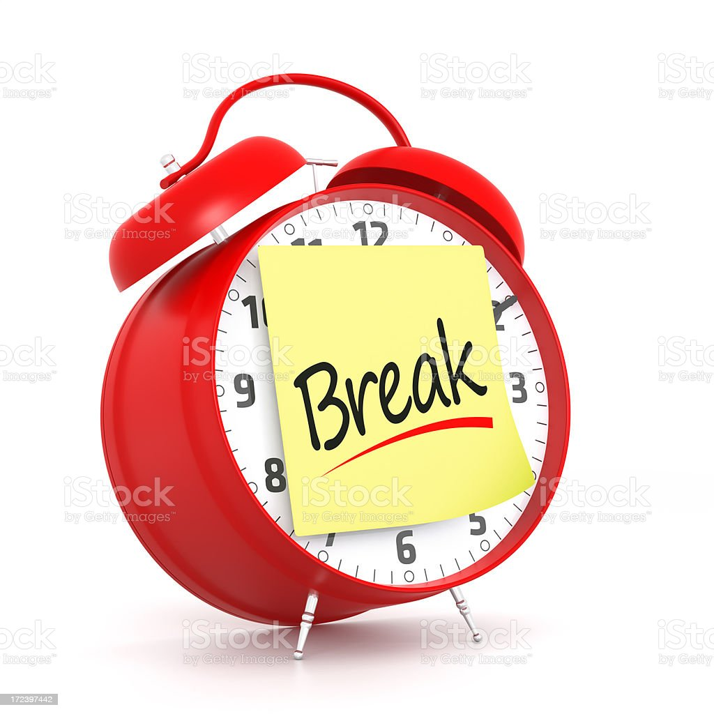 Red alarm clock with break post it note royalty-free stock photo