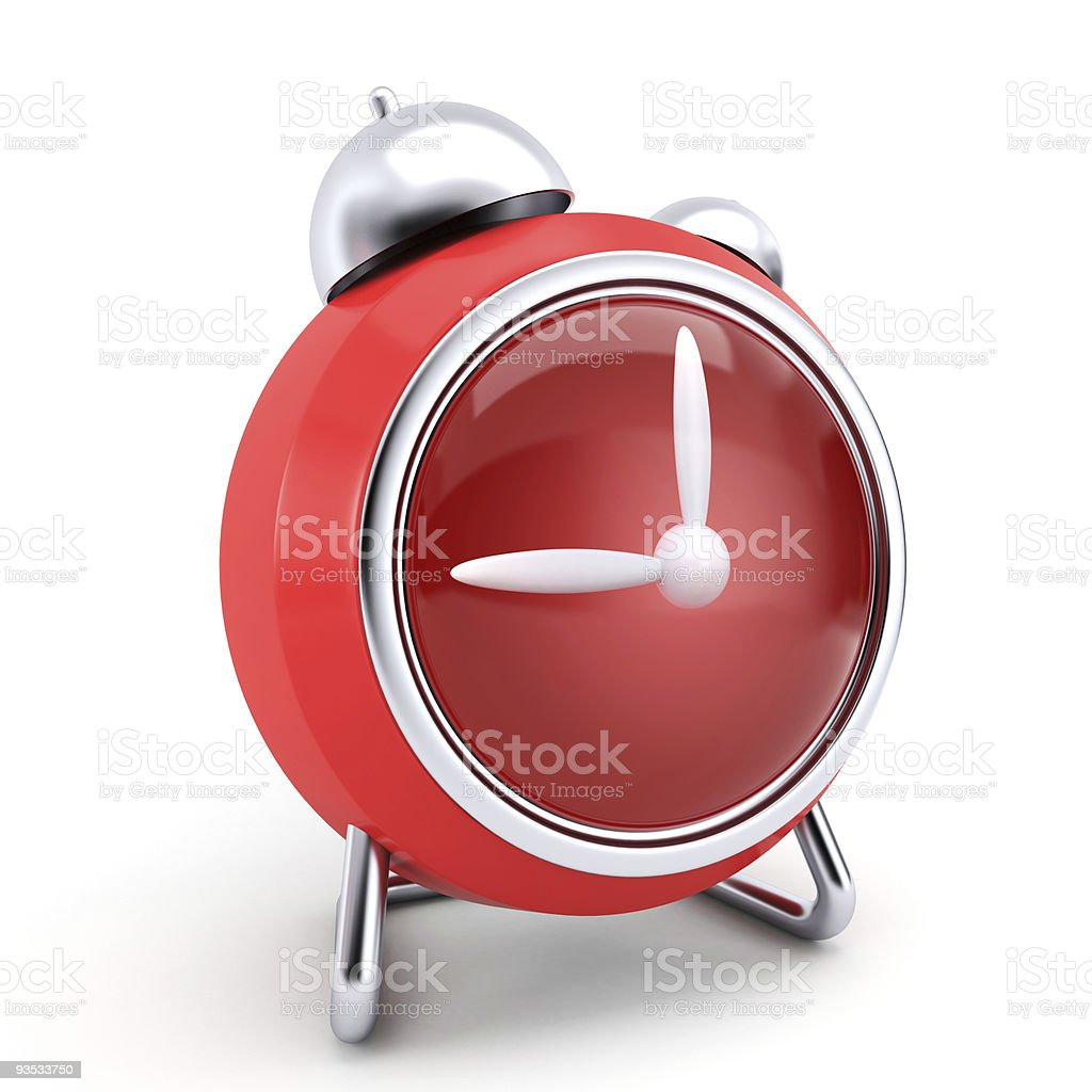 Red alarm clock without numbers royalty-free stock photo