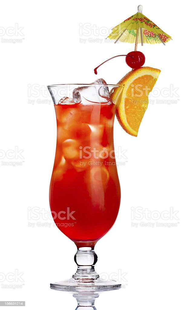 Red alcohol cocktail in with orange slice isolated royalty-free stock photo