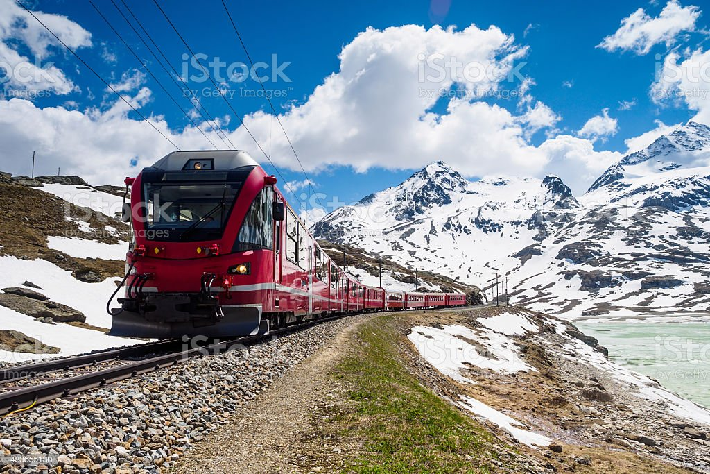 Red Alpine Express stock photo
