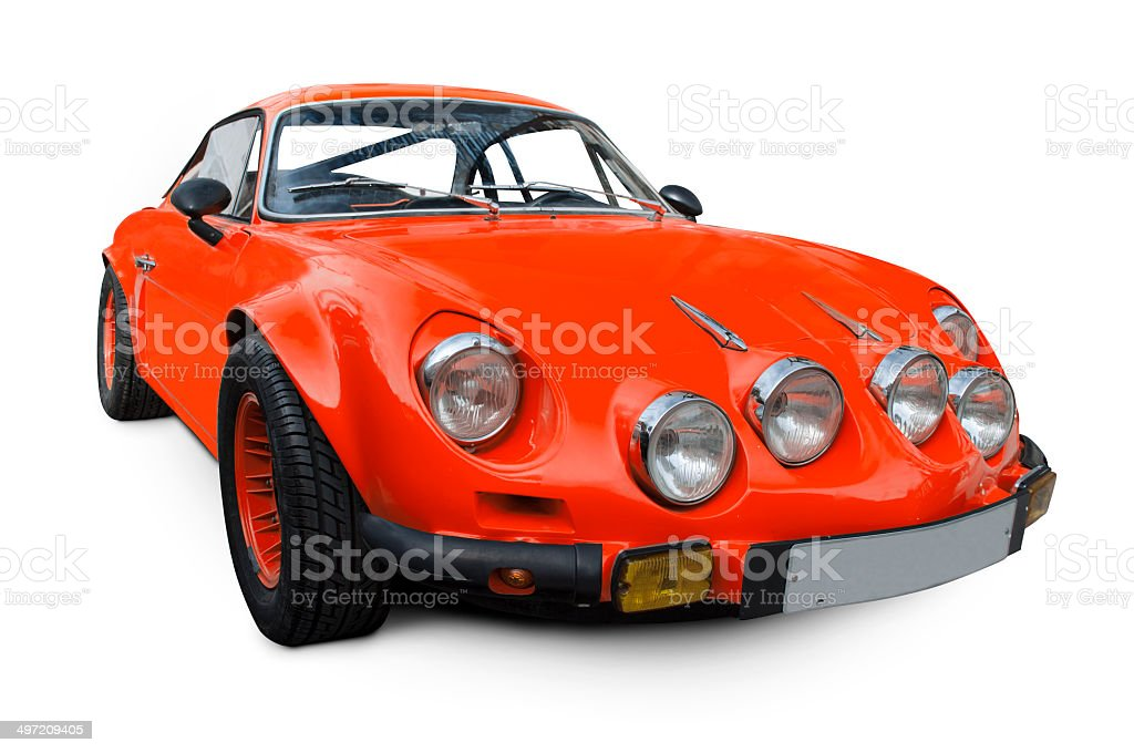 red Alpine Renault A110 70's stock photo