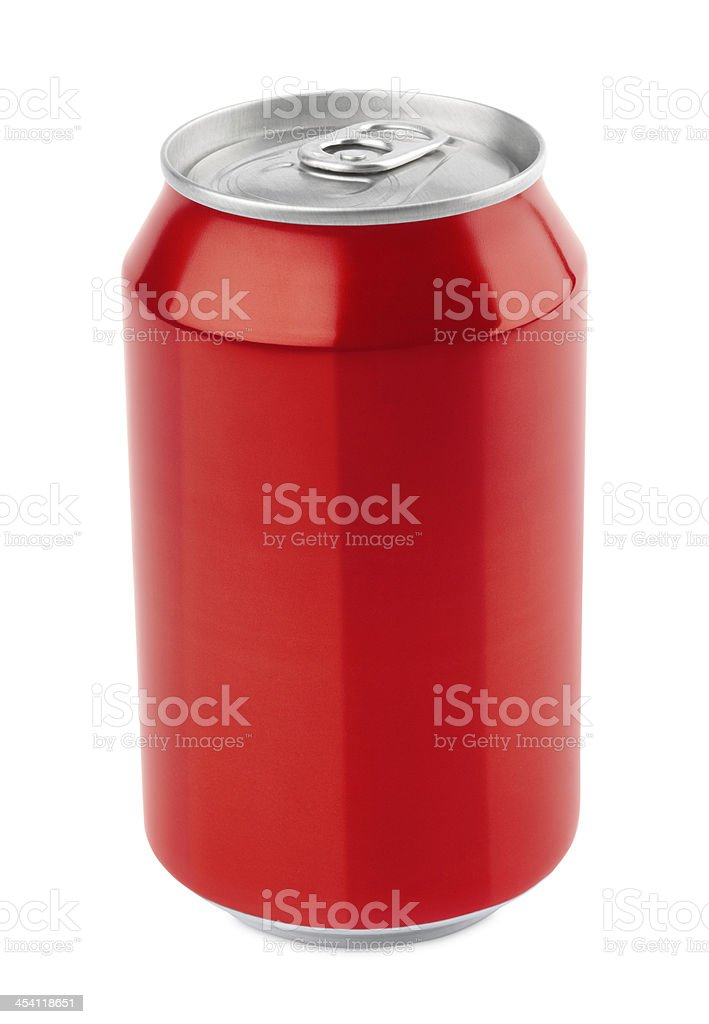 Red aluminum can on white stock photo