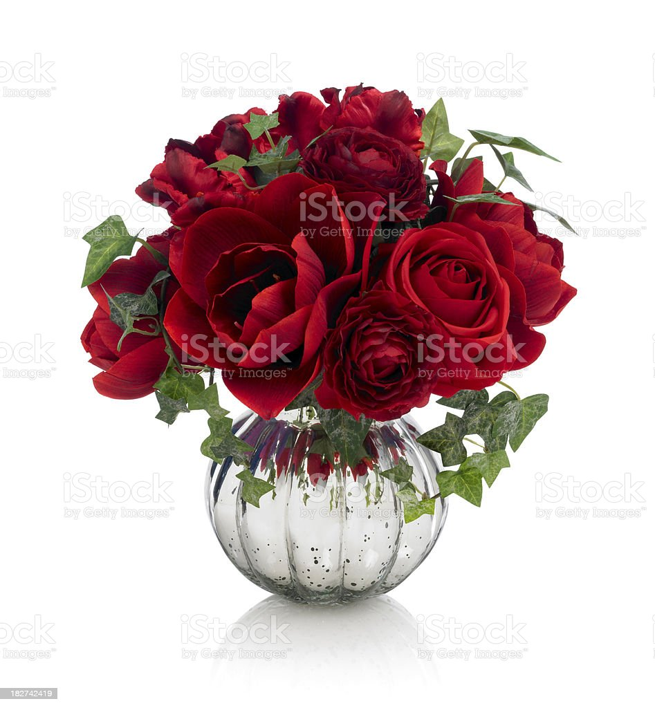 Red amaryllis, rose and tulip bouquet on white background stock photo