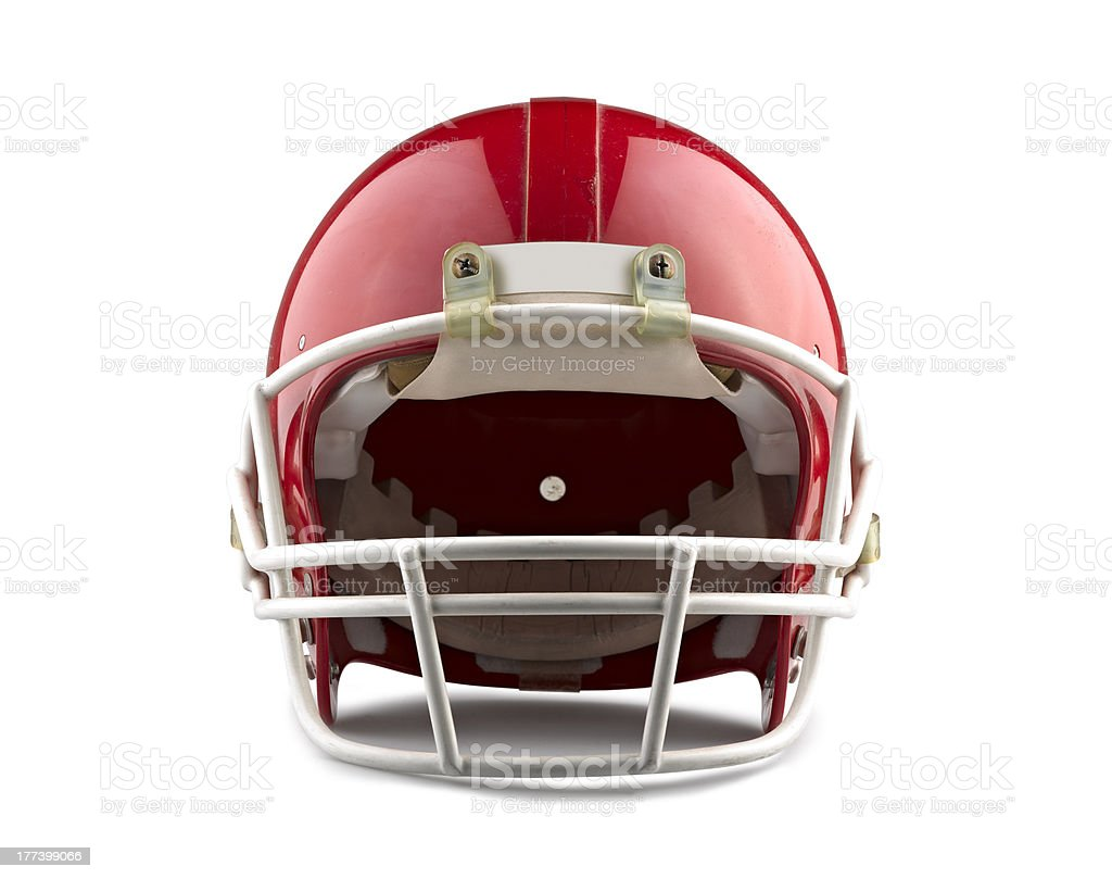 Red American football helmet isolated on white  stock photo