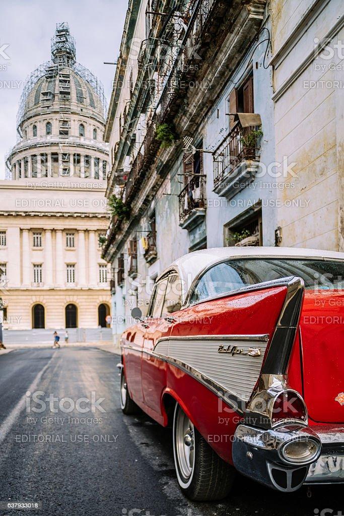 Red American in Havana stock photo