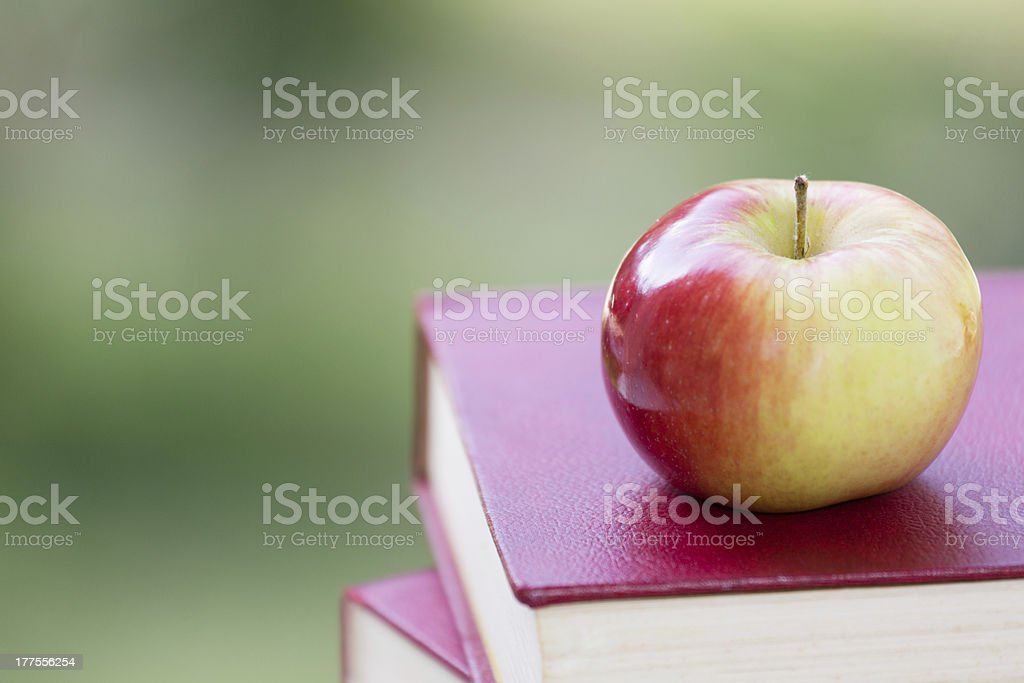 Red & green apple placed on stack of books stock photo